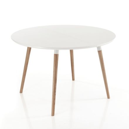 Udtrækkeligt bord i træ, mat hvid Ian gulv