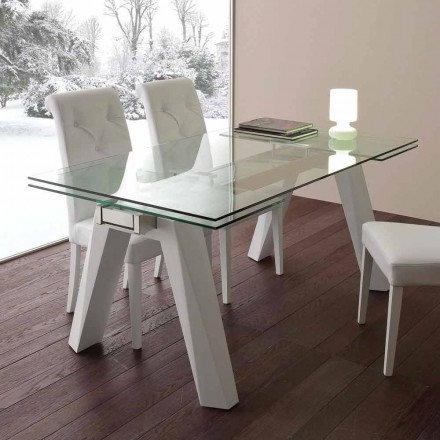 Glas bord udvides, rustfrit stål og hvid metal Florida