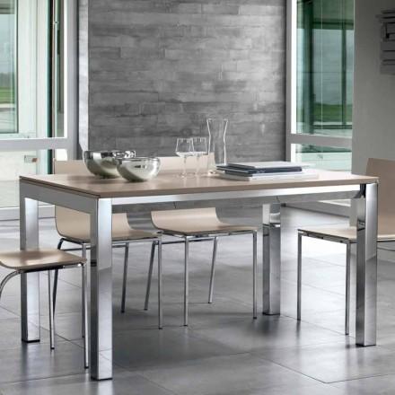 Udvideligt bord i Tanganika valnødstræ, sidebånd og metalbase - Ketla
