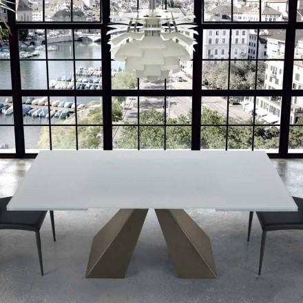 Moderne udvides bord i glas og stål 14 sæder fremstillet i Italien - Dalmata