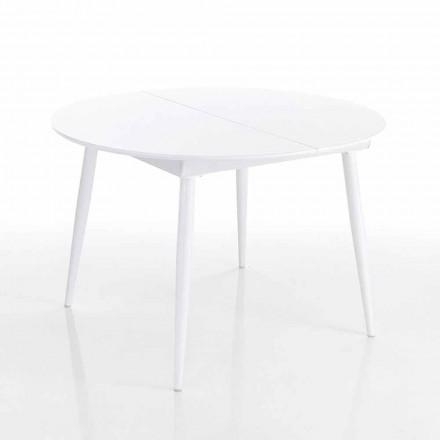 Rundt udtrækkeligt spisebord i hvid Mdf - Ismaele