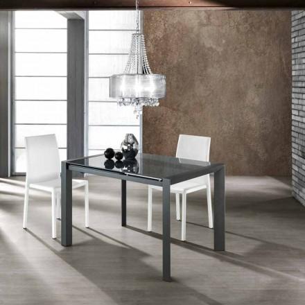 Udtrækkeligt bord hærdet glas grå malet metal og Zeno