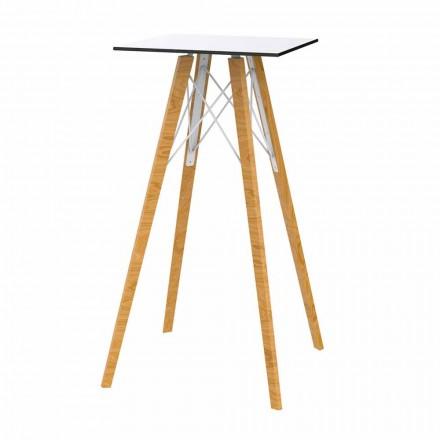 Firkantet design højt stangbord i træ og Hpl, 4 stykker - Faz Wood af Vondom