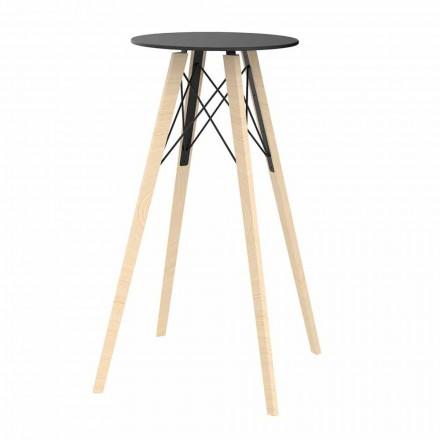 Rundt design højt stangbord i træ og Hpl, 4 stykker - Faz Wood af Vondom