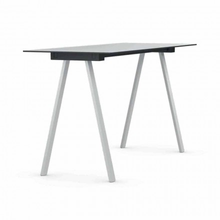 Udendørs højbord i metal og rektangulær HPL fremstillet i Italien - Devin