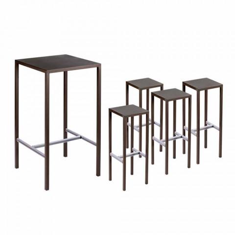 Barbord med 4 udendørs afføring i malet metal fremstillet i Italien - Fada