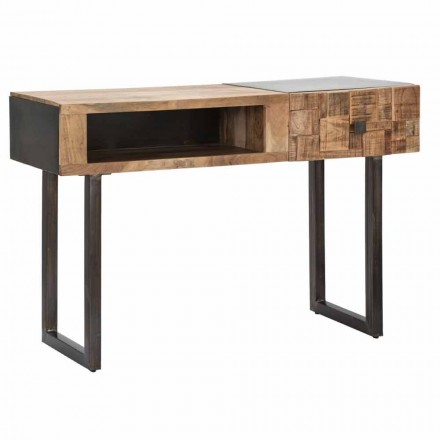 Jern- og Acacia-trækonsolebord med designskuffe - Dena
