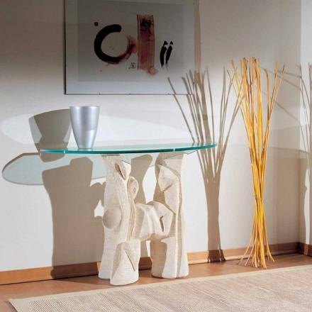 Konsolbord håndskåret i Vicenza Stone og Dios krystal