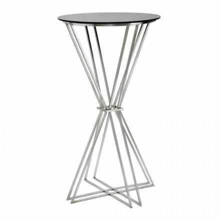 Rundt barbord med moderne design i jern og glas - Benita