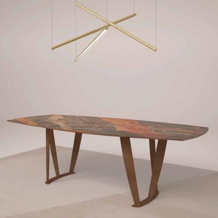Luksus rektangulært bord i Ombra Marble af Caravaggio og metal - Naruto