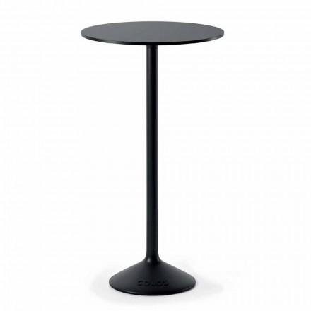 Højrundt udendørs bord i støbejernsmetall og HPL fremstillet i Italien - Condor