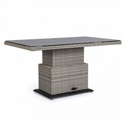 Udendørsbord i keramisk og syntetisk fiber, justerbar højde - Claire
