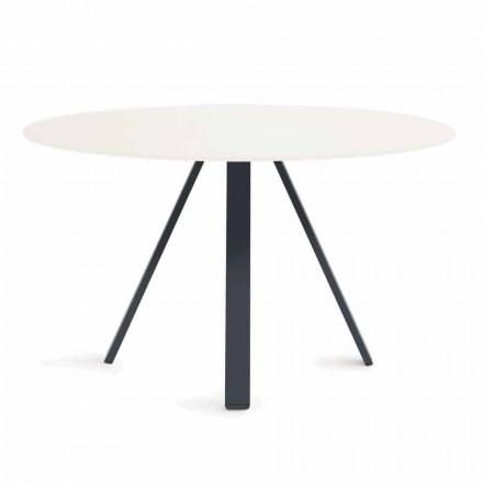 Rundt metal og HPL udendørs bord fremstillet i Italien - Conrad