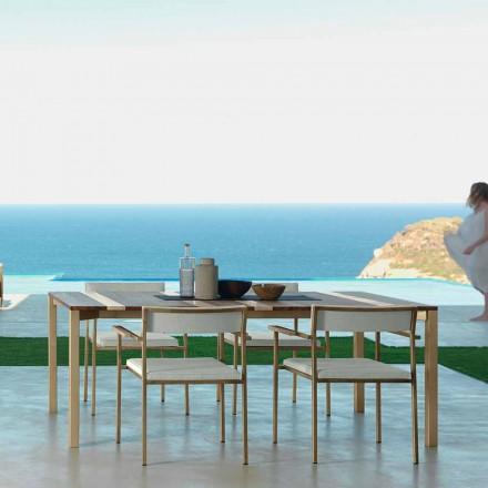 Moderne træ og rustfrit stål udendørs bord 200x100 Casilda Talenti