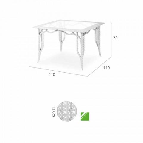 Bord med glasplade havedesign Romeo, håndlavet