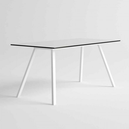 Havebord i hvidt aluminium og HPL laminat moderne design - Oceanien2