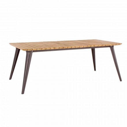 Havebord Teak Træplade og Homemotion Aluminium Base - Amabel