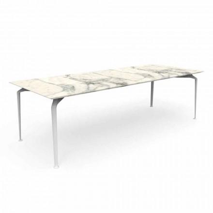 Moderne rektangulært havebord i stentøj og aluminium - Cruise Alu Talenti
