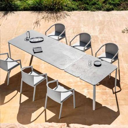 Udendørs udtrækkeligt spisebord 318 cm i aluminium og stentøj - Filomena