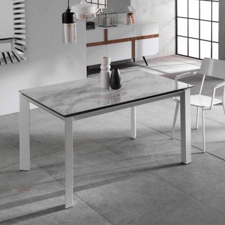 Udvideligt spisebord med marmor effekt keramisk top, Nosate