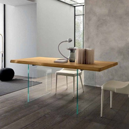 Udtrækkeligt spisebord Op til 280 cm i træ og glas fremstillet i Italien - Focus