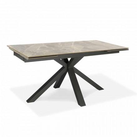 Udvideligt spisebord Op til 240 cm i metal og keramik - Laryssa