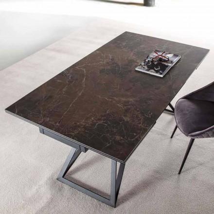 Udtrækkeligt spisebord Op til 240 cm i keramikglas og stål - Bortolo