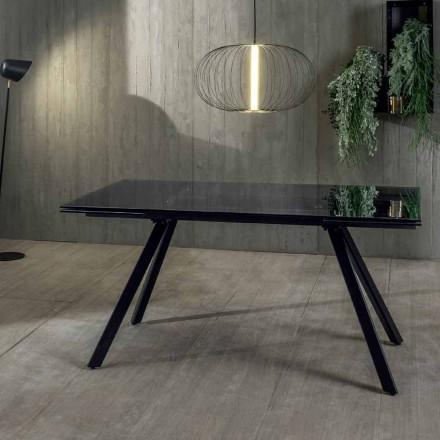 Udtrækkeligt spisebord op til 240 cm i hærdet sort Fumé-glas - Fener