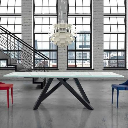 Udvideligt spisebord af glas op til 300 cm Fremstillet i Italien - Settimmio