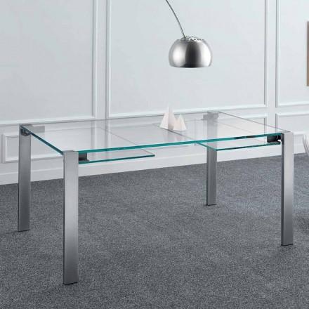Udvideligt spisebord i Extralight glas og metal fremstillet i Italien - Sopot