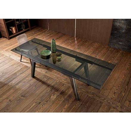Udvideligt spisebord i fumè glas lavet i Italien, Dimitri