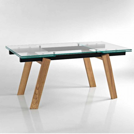 Moderne udvidelige spisebord i glas lavet i Italien, Azad