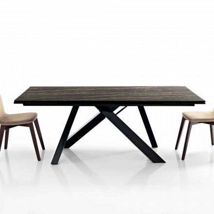Udvideligt spisebord i glas-keramik lavet i Italien, Wilmer