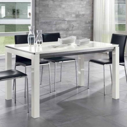Udvideligt spisebord Tanganika Valnød Træ Glanset Hvid Lakeret - Ketla