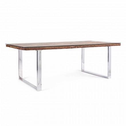 Homemotion Spisebord med træ og hærdet glasplade - Blanco