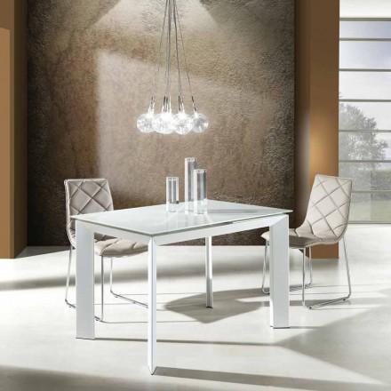 Spisebord med hærdet glasplade malet hvid Zeno