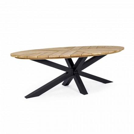 Udendørs spisebord med oval top i teaktræ, Homemotion - Selenia
