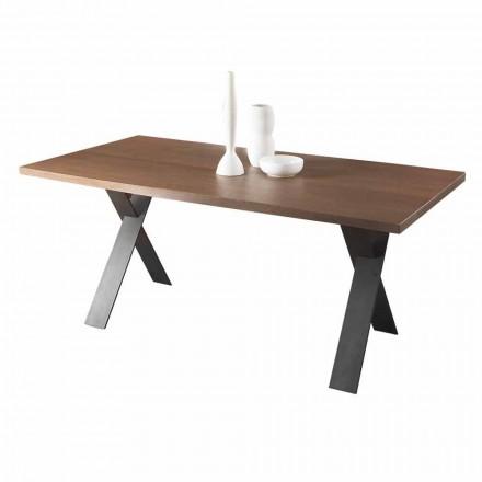 Design spisebord med plade af eg eller valnøddetræ Fremstillet i Italien - Lucas
