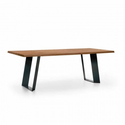 Design spisebord i gran med ben af sort metal fremstillet i Italien - Kroma