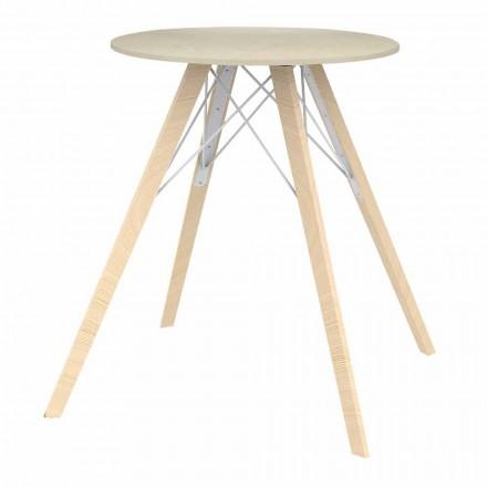 Rundt design spisebord i træ og Dekton 4 stykker - Faz Wood af Vondom