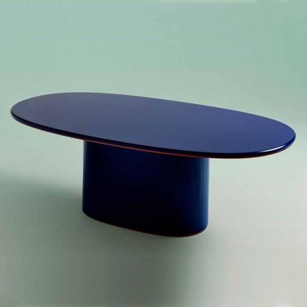 Moderne design ovalt spisebord i blå MDF og kobber fremstillet i Italien - Oku