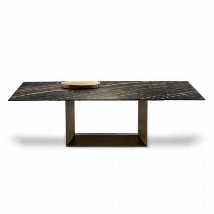Udvideligt spisebord i keramik og metal fremstillet i Italien - mørkebrunt