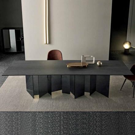 Design spisebord i keramisk og røget glasbund lavet i Italien - tilfældigt