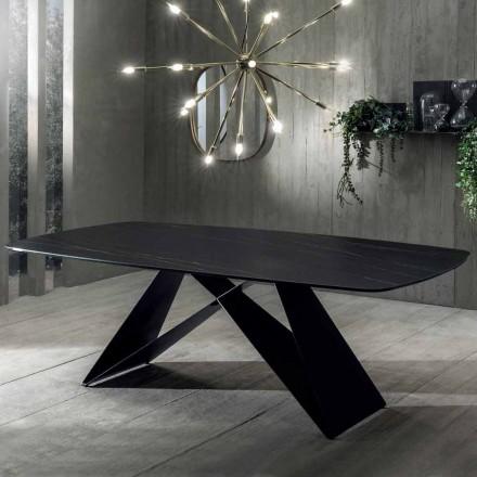 Spisebord med design i Portoro-effektkeramik og mat metal - Falcon