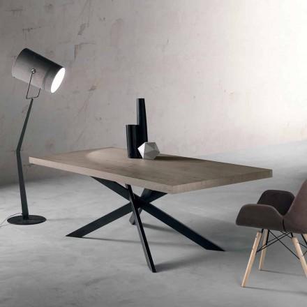 Design spisebord i egetræ og metal lavet i Italien Oncino