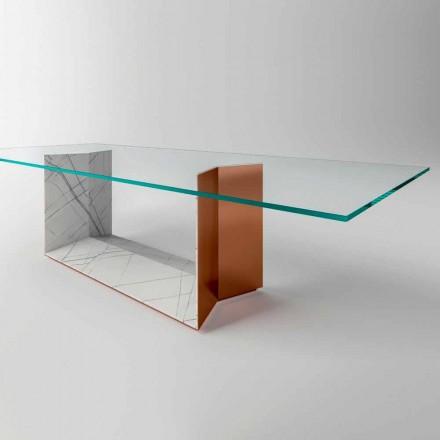 Spisebord af glas med metal og marmor base lavet i Italien - Minera