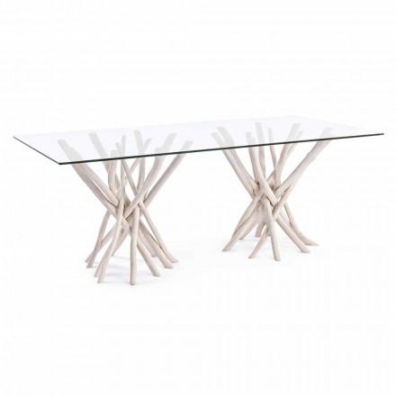 Design spisebord i glas og bleget teak homemotion - Frankrig