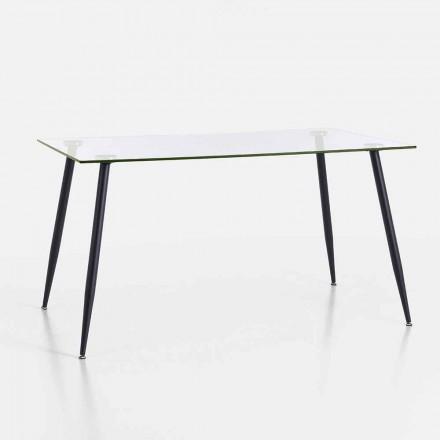 Spisebord i moderne design i hærdet glas og sort metal - Foulard