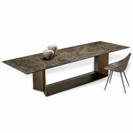 Emperador spisebord af keramik og bronze metal fremstillet i Italien - mørkebrunt