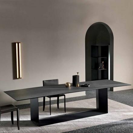 Anthracite Savoy Stone Ceramic spisebord fremstillet i Italien - mørkebrunt